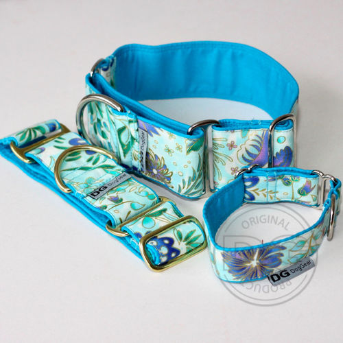 Halsband Martingale:   Turquise crazy flowers   DG DogGear